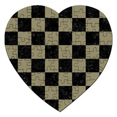 Square1 Black Marble & Khaki Fabric Jigsaw Puzzle (heart) by trendistuff