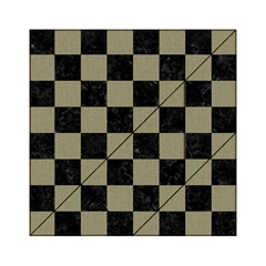 Square1 Black Marble & Khaki Fabric Acrylic Tangram Puzzle (6  X 6 ) by trendistuff