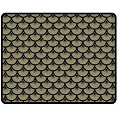 Scales3 Black Marble & Khaki Fabric Fleece Blanket (medium)  by trendistuff