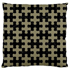 Puzzle1 Black Marble & Khaki Fabric Large Cushion Case (one Side) by trendistuff