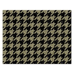 Houndstooth1 Black Marble & Khaki Fabric Rectangular Jigsaw Puzzl by trendistuff