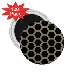 Hexagon2 Black Marble & Khaki Fabric (r) 2 25  Magnets (100 Pack)  by trendistuff