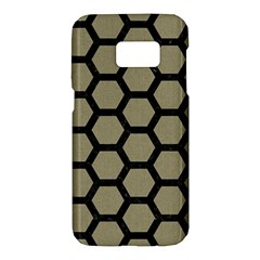 Hexagon2 Black Marble & Khaki Fabric Samsung Galaxy S7 Hardshell Case  by trendistuff