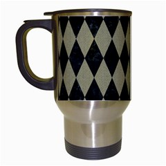Diamond1 Black Marble & Khaki Fabric Travel Mugs (white) by trendistuff