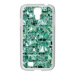 Modern Geo Fun, Teal Samsung Galaxy S4 I9500/ I9505 Case (white) by MoreColorsinLife
