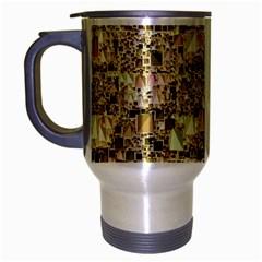 Modern Geo Fun,golden Travel Mug (silver Gray) by MoreColorsinLife