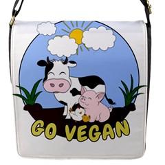 Friends Not Food   Cute Pig And Chicken Flap Messenger Bag (s) by Valentinaart