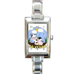 Friends Not Food   Cute Pig And Chicken Rectangle Italian Charm Watch by Valentinaart