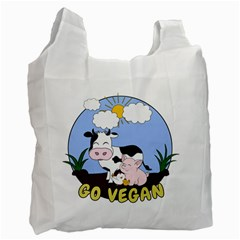 Friends Not Food   Cute Pig And Chicken Recycle Bag (one Side) by Valentinaart