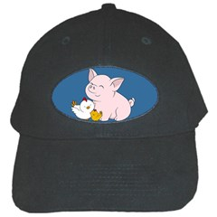 Friends Not Food   Cute Pig And Chicken Black Cap by Valentinaart