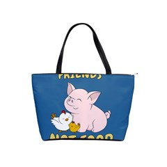 Friends Not Food   Cute Pig And Chicken Shoulder Handbags by Valentinaart
