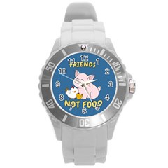 Friends Not Food   Cute Pig And Chicken Round Plastic Sport Watch (l) by Valentinaart