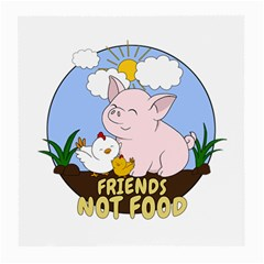 Friends Not Food   Cute Pig And Chicken Medium Glasses Cloth by Valentinaart
