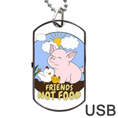 Friends Not Food   Cute Pig And Chicken Dog Tag Usb Flash (one Side) by Valentinaart