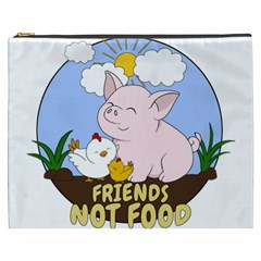 Friends Not Food   Cute Pig And Chicken Cosmetic Bag (xxxl)  by Valentinaart