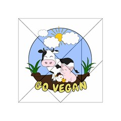 Friends Not Food   Cute Cow, Pig And Chicken Acrylic Tangram Puzzle (4  X 4 ) by Valentinaart