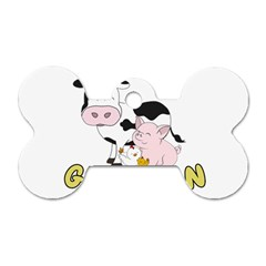 Friends Not Food   Cute Cow, Pig And Chicken Dog Tag Bone (two Sides) by Valentinaart
