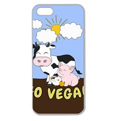 Friends Not Food   Cute Cow, Pig And Chicken Apple Seamless Iphone 5 Case (clear) by Valentinaart