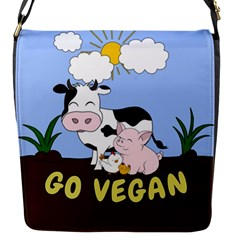 Friends Not Food   Cute Cow, Pig And Chicken Flap Messenger Bag (s) by Valentinaart