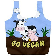 Friends Not Food   Cute Cow, Pig And Chicken Full Print Recycle Bags (l)  by Valentinaart