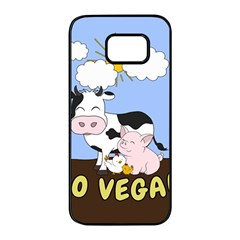 Friends Not Food   Cute Cow, Pig And Chicken Samsung Galaxy S7 Edge Black Seamless Case by Valentinaart