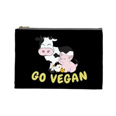 Friends Not Food   Cute Cow, Pig And Chicken Cosmetic Bag (large)  by Valentinaart