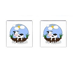 Friends Not Food   Cute Cow Cufflinks (square) by Valentinaart