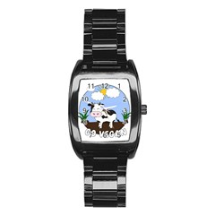 Friends Not Food   Cute Cow Stainless Steel Barrel Watch by Valentinaart