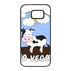 Friends Not Food   Cute Cow Samsung Galaxy S7 Edge Black Seamless Case by Valentinaart