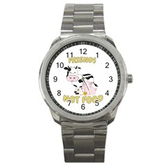Friends Not Food   Cute Cow, Pig And Chicken Sport Metal Watch by Valentinaart