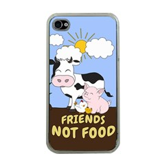 Friends Not Food   Cute Cow, Pig And Chicken Apple Iphone 4 Case (clear) by Valentinaart