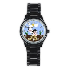 Friends Not Food   Cute Cow, Pig And Chicken Stainless Steel Round Watch by Valentinaart