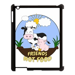Friends Not Food   Cute Cow, Pig And Chicken Apple Ipad 3/4 Case (black) by Valentinaart