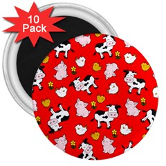 The Farm Pattern 3  Magnets (10 Pack)  by Valentinaart