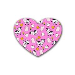 The Farm Pattern Heart Coaster (4 Pack)  by Valentinaart