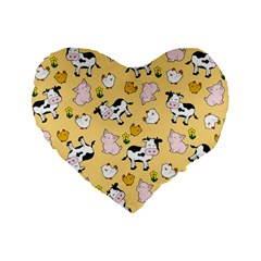 The Farm Pattern Standard 16  Premium Heart Shape Cushions by Valentinaart