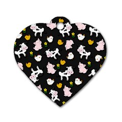 The Farm Pattern Dog Tag Heart (two Sides) by Valentinaart
