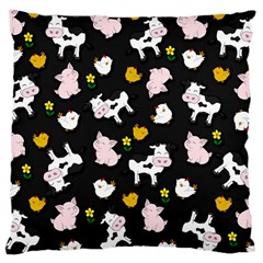 The Farm Pattern Large Cushion Case (two Sides) by Valentinaart