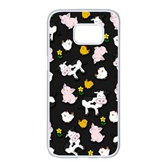The Farm Pattern Samsung Galaxy S7 Edge White Seamless Case by Valentinaart