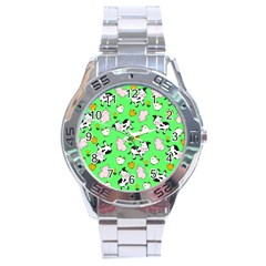 The Farm Pattern Stainless Steel Analogue Watch by Valentinaart