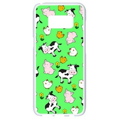 The Farm Pattern Samsung Galaxy S8 White Seamless Case by Valentinaart