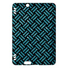 Woven2 Black Marble & Turquoise Glitter (r) Kindle Fire Hdx Hardshell Case by trendistuff