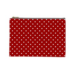 Red Polka Dots Cosmetic Bag (large)  by jumpercat