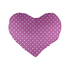 Pink Polka Dots Standard 16  Premium Flano Heart Shape Cushions by jumpercat