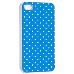 Blue Polka Dots Apple Iphone 4/4s Seamless Case (white) by jumpercat