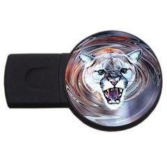 Cougar Animal Art Swirl Decorative Usb Flash Drive Round (2 Gb) by Nexatart