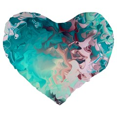Background Art Abstract Watercolor Large 19  Premium Flano Heart Shape Cushions by Nexatart