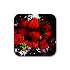 Strawberry Fruit Food Art Abstract Rubber Square Coaster (4 Pack)  by Nexatart