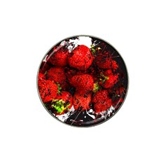 Strawberry Fruit Food Art Abstract Hat Clip Ball Marker (4 Pack) by Nexatart