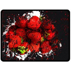 Strawberry Fruit Food Art Abstract Double Sided Fleece Blanket (large)  by Nexatart